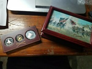 1995 Us Civil War 3-coin Proof Set in display case, hand signed by Mort Kunstler