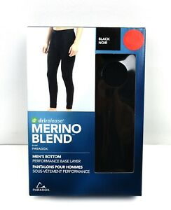 Paradox Mens Merino Blend Drirelease Performance Base Layer Bottom/Pants - Black
