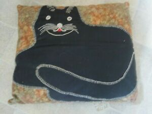 Vintage Handmade Embroidered Black Cat Cushion Throw Pillow