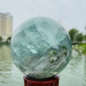 1320g Natural Quality Color Fluorite Quartz Crystal Sphere Healing Ball