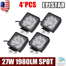 4X 4''inch 27W Spot Square LED Work Light Offroad Boat Car Tractor Truck SUV ATV