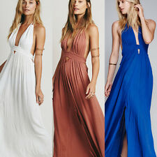 Open Back Plunging Neckline Women's Evening Formal Prom Gown Party Maxi Dress