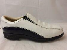Nike Golf Shoes Womens 7.5 305276-141 Cleat White Leather Black Bike Toe Slip On