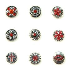 Noosa Style Chunks Mini Snap Button Charms Ginger Snaps Charm Red Stones 12mm