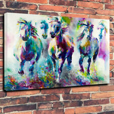 "Abstract Horses Large Printed Box Canvas Picture A1.30""x20"" 30mm Deep Wall Art"