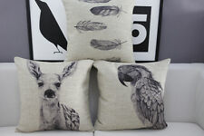 Cotton Linen Cushion Cover Pillow Case Black and White Deer Feather Parrot