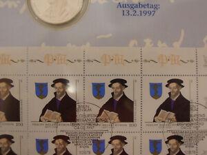 SELTENES Numisblatt 1/97 1997 Melanchthon mit PLATTENFEHLER Punkt über Auge, RAR
