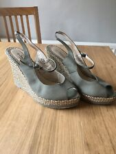 Ladies Wedge Sandals Size 8 Sage Green Khaki Summer Holiday Wedding Peep Toe