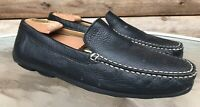 GEOX Men's Sz 44 US 11 Black Leather Driving Comfort Casual Loafer Slip On Shoes