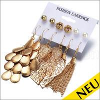 NEU 🌸 SET 6 Paar GOLD Ohrstecker FASHION Statement OHRRINGE Party 🌸 Style