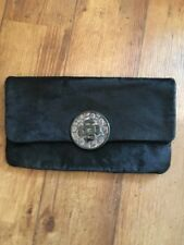 Ted Baker Black Clutch Bag Pony Hair Leather Lined Floral Stunning