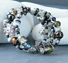 Handmade Boho Style Black and Silver Beaded Wrap Memory Wire Bracelet