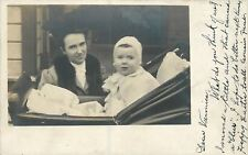 Pretty Mama~Baby Carriage~Fur Stole~White Lace~Photographer Paul Moved~1905 RPPC