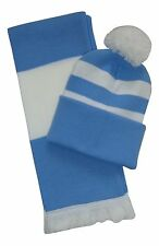 Sky Blue and White, Scarf and Hat Set - Made in the UK
