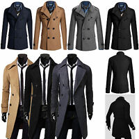 Men's Winter Gent Slim Fit Double Breasted Overcoat Trench Coat Jacket Outwear