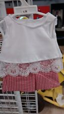 red gingham shorts white layered look top fits American Girl doll handmade new