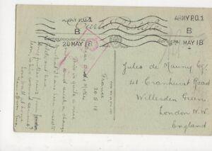 Jules de Mauny Cranhurst Rd Willesden Green London 1918 WW1 Active Service 726a