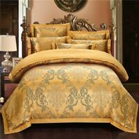 Gold Luxury Bedding Set Embroidery Duvet Cover Bed Set Cotton Bed  Fitted Sheet