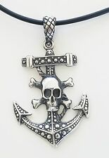 Biker 925 Sterling Silver Pendant With Rubber Necklace Silver Clasp