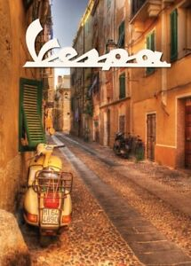 VESPA ICONIC SCOOTERS, LOVELY OLD GRAINY ADVERTSING POSTER