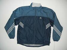 ADIDAS CLIMAPROOF Blue Athletic WINDBREAKER JACKET Soccer Track Coat Sz Men's L