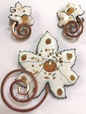 ❤️Matisse Renoir Vintage Clip Earrings & Brooch Set  Copper White Enamel Leaf❤️