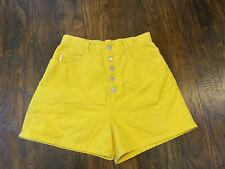 VTG 90s Sz 11 Bongo 5-Button Fly High Waist Yellow Denim Jean Shorts USA MADE