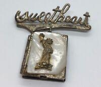 Vintage Sterling Silver Brooch Pin 925 Sweetheart Locket Dangle Statue Liberty