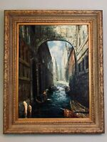 """ESTATE LARGE PAINTING CANAL SCENE VENICE 50""""X 41"""" DEEP GOLD FRAME EXCELLENT"""