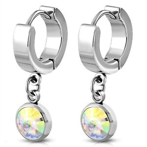 Huggie Hoop Drop Earrings Aurora Borealis Hypoallergenic Surgical Steel