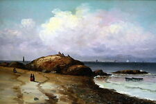 Antique Wesley Webber Seascape  Beach Scene at   Newport