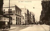 Tunis Africa Afrika ~1910/20 Rue Avenue Jules Ferry Autos Eisenbahn Geschäfte