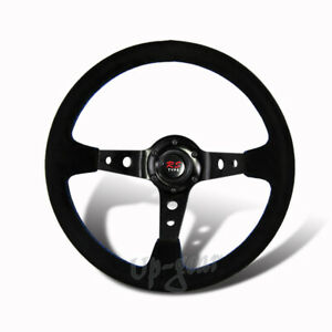 350MM 6 Hole Black Suede Leather Blue Stitch Deep Dish Steering Wheel Universal