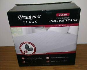 Beautyrest Black 250TC Cotton Heated Mattress Pad Queen New Open