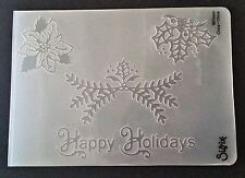 Sizzix Large Embossing Folder HAPPY HOLIDAYS CHRISTMAS HOLLY fits Cuttlebug