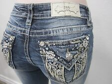 NWT Miss Me  Super Cute Capri Denim Crystal Angel Wings Pockets  Tag Sz 28 x 23