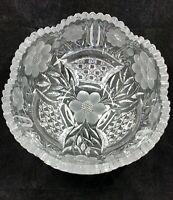 Antique American Brilliant ABP cut crystal bowl flower basket fine diamond hob