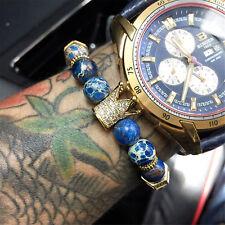 Luxury Men CZ Crown King Charm Bracelets White Howlite Stone Father's Day Gift