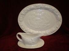 NEW - Large White Ceramic Turkey Platter & Gravy Boat Set - 16 x 12