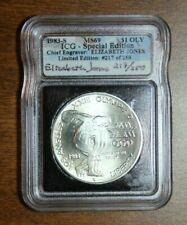 1983-S OLYMPIC COMMEM SILVER DOLLAR ICG MS69 SPECIAL EDITION - ENGRAVER SIGNED