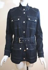 NWT $160 White House Black Market Belted Denim Jacket, Dark Wash Blue, Pick Size