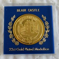 BLAIR CASTLE 38mm 22ct GOLD PLATED PROOF MEDAL - cased