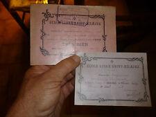 Ancien Bon Point Billet d'Honneur Mention Ecole Libre St Hilaire Fonds par Melle