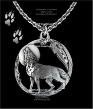 MOON SHADOW WOLF NECKLACE DIAMOND CUT WOLVES EAGLE FEATHER FREE SHIP  C24*