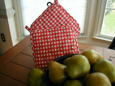 """New listing Red Gingham Two New 8"""" Fabric Square Potholder / Trivets Cotton Blend"""