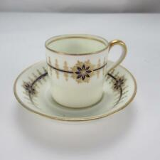 Royal Cauldron Espresso Coffee Cup and Saucer with Gold & Blue Floral Pattern