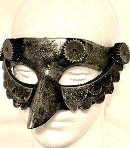 Adult Women's Steampunk Silver Tone Halloween NY Eve Mardi Grad Eye Mask w Nose