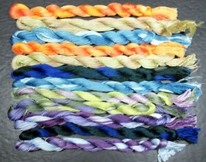 12x Needlepoint/Embroidery THREAD Hand-dyed Cotton Floss-mixed-TX188