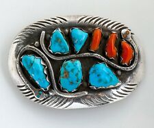29ba678bf Native American Zuni Effie C Double Snake Sterling Turquoise & Coral Belt  Buckle