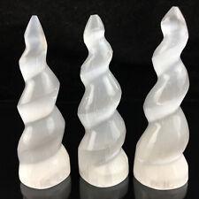 1pc Selenite Spiral Unicorn Horn Carving Gemstone Tower Crystal reiki healing